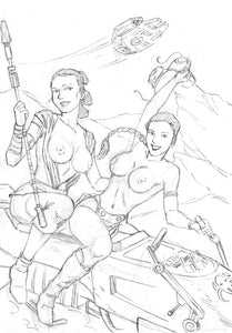 Leia & Rey Topless Sketches Yum Yum Yum