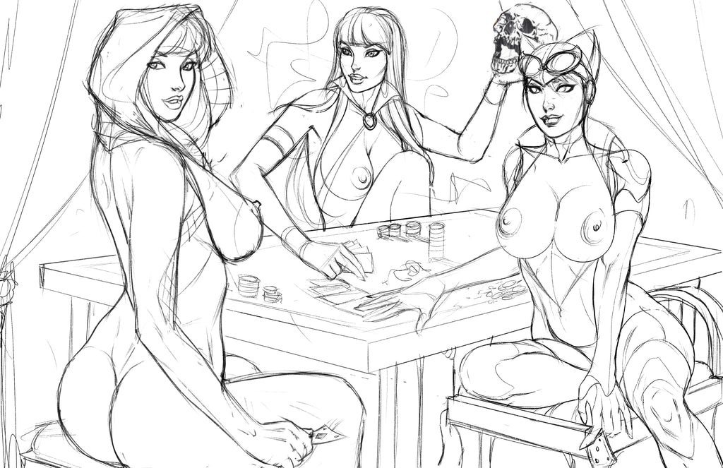 Strip Poker Semi Final Sketches -- Spider-Gwen - Vampirella - Catwoman