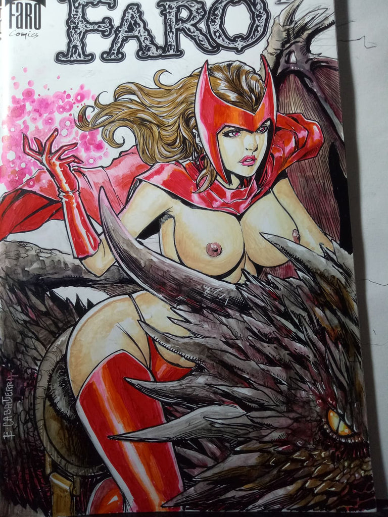 Scarlet Witch riding a bloody dragon