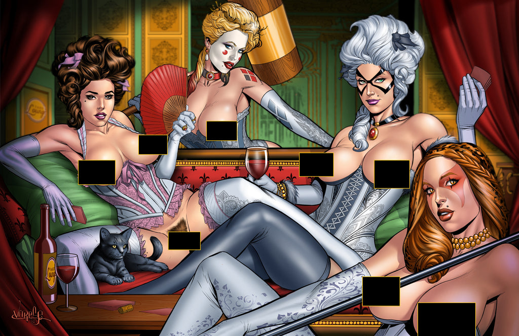 Superhero Strip Poker -- French Cathouse Round