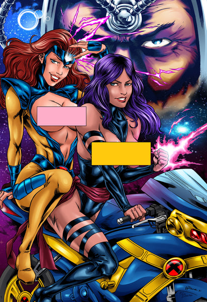 Jean Grey and Psylocke on a Cyclops Cycle