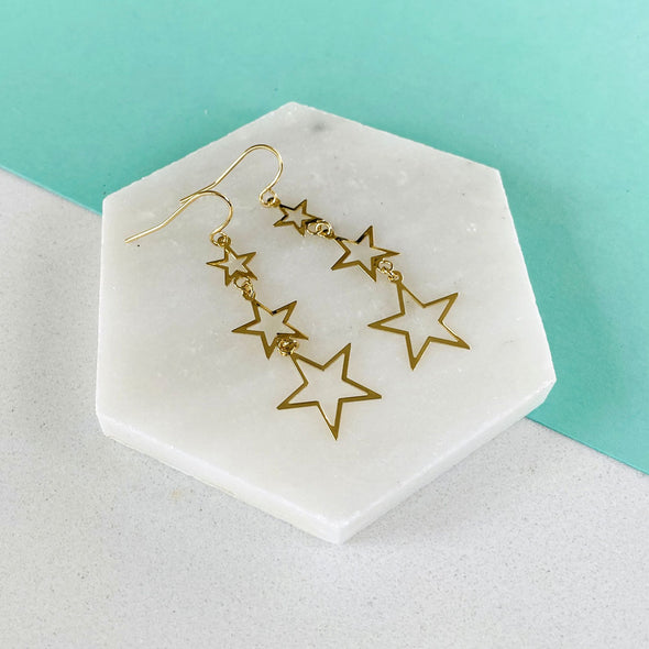 Stacked Star Earrings