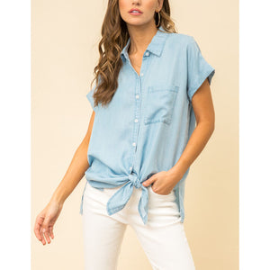 Oversized Chambray Top