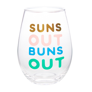 Suns Out Wine Glass