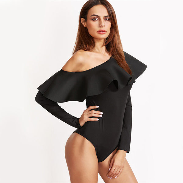 Women Black Slim Ruffle Trim Bodysuit