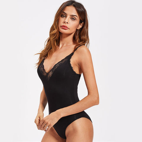 Women Sexy Plunge Neck Summer Bodysuits