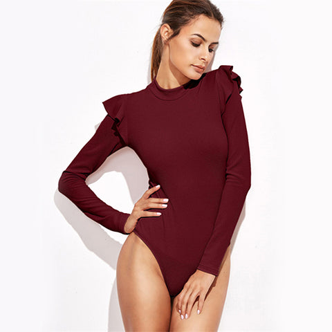 Cute Ruffle Long Sleeve Burgundy Bodysuits