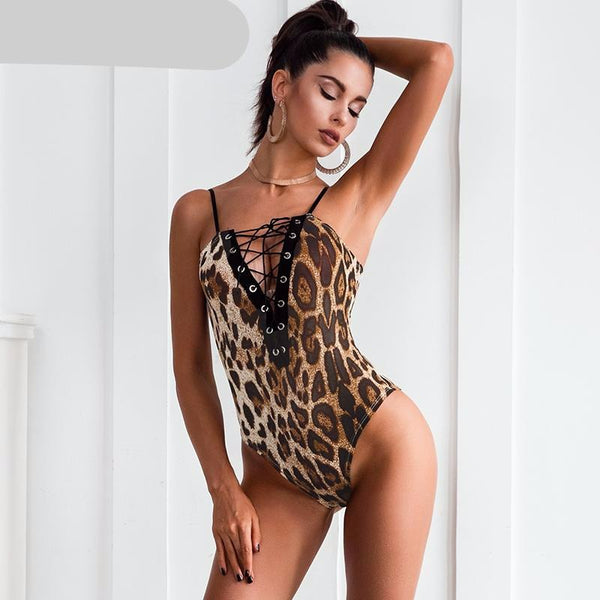 Women Deep V Neck Sexy Bodysuit