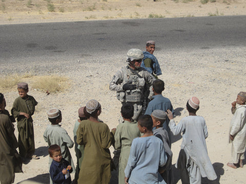Patrick with the children of Afghanistan