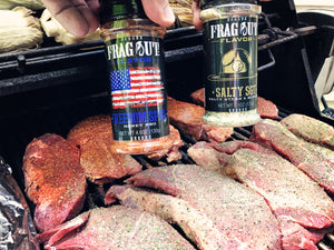 Salty SGT seasoned sirloin steaks on grill
