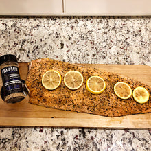 Grilled salmon seasoned with blue line