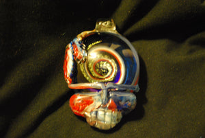 Lucky Glass Stealy Pendant with Feathers