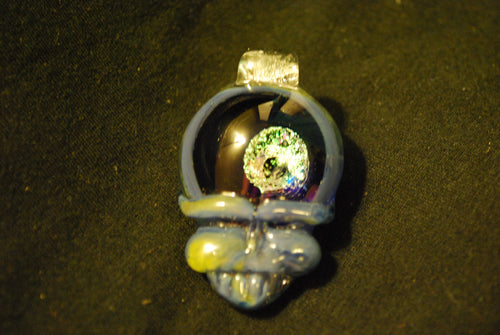 Lucky Glass Stealy Blue Pendant One Yellow Cheek