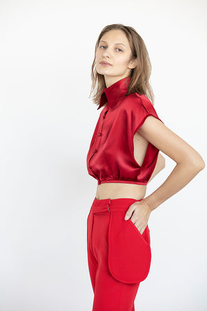 RED MONET CROP BLOUSE