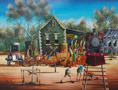 Max Mannix Painting | Pennies On The Train Track | SOLD