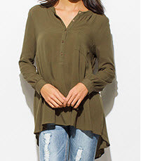 Dark Olive Green High Low Blouse Top