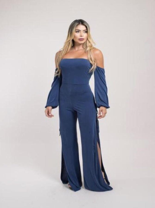 Off Shoulder Open Leg Jumpsuit