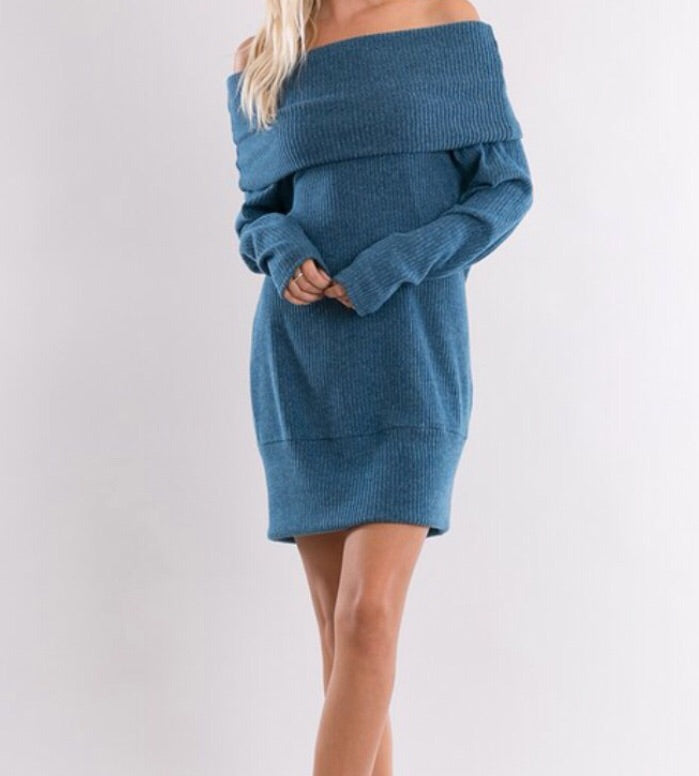 Long Sleeve Off Shoulder Convertible Sweater Dress