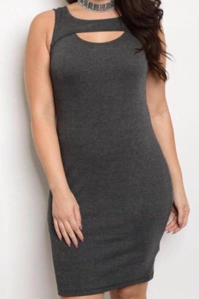 Plus Size Charcoal Midi Dress