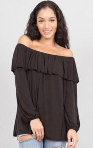 Off Shoulder Ruffle Top (worn on or off shoulder)