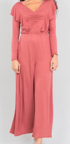 Long Sleeve Elastic Waist Straight Wide Leg Jumper Jumpsuit
