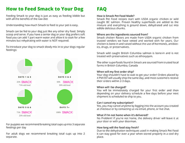 Smack Raw Dehydrated Pet Food Feeding Guidelines