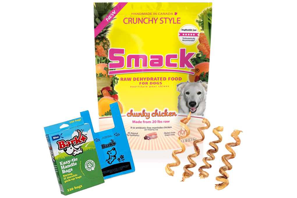 Smack Chunky Chicken Raw Dehydrated Dog Food, Waste Bag, Bully Stick Combo Pack