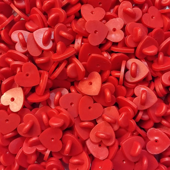 Red Heart Rubber Pin Backs