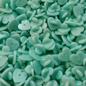Cyan Heart Rubber Pin Backs