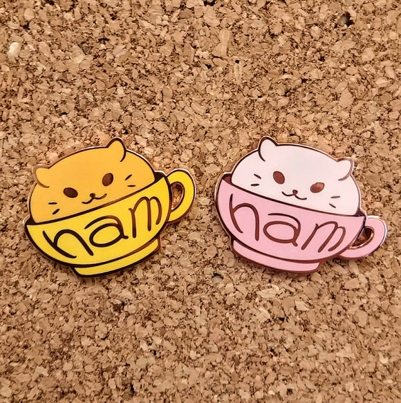 Pink or Gold Hamster Cup Enamel Pin