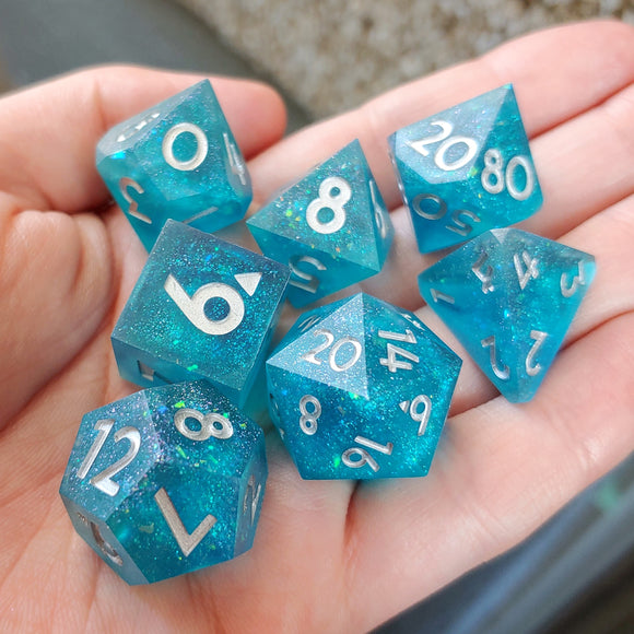 Mermaid Tears Matte 7 Piece Polyhedral Dice Set