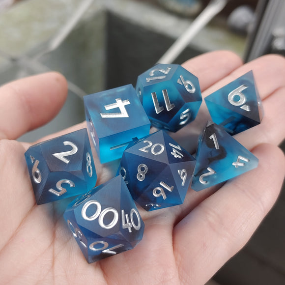 Ocean Whispers Matte 7 Piece Polyhedral Dice Set