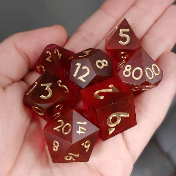 Red Wine Matte 7 Piece Polyhedral Dice Set