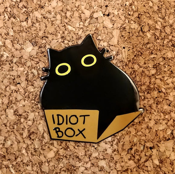 Fat Black Cat Enamel Pin