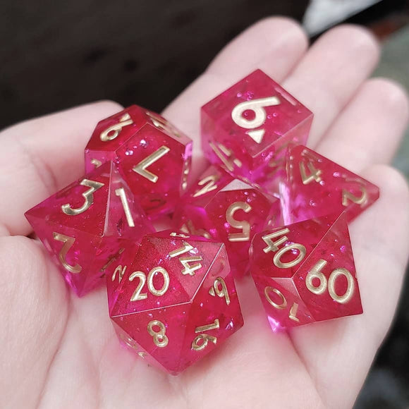 Strawberry Sparkler 7 Piece Polyhedral Dice Set