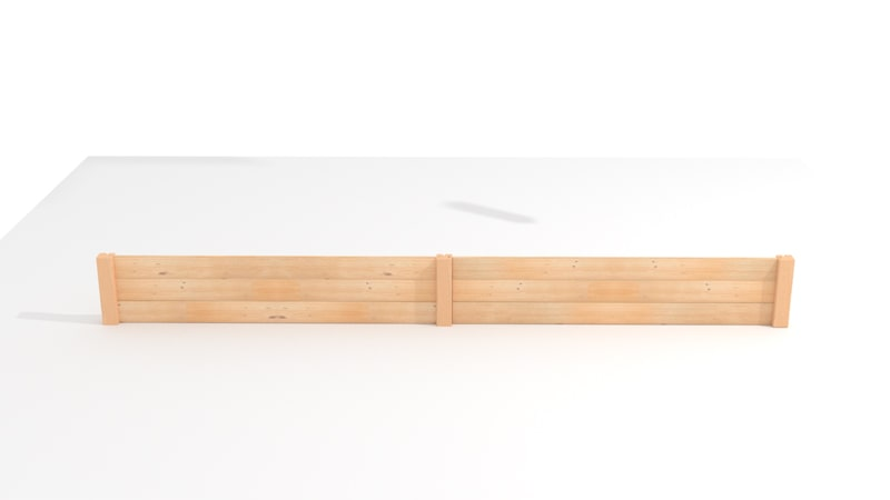 A GIF for attaching the tall post and the horizontal board of the Raised Bed Garden Planter