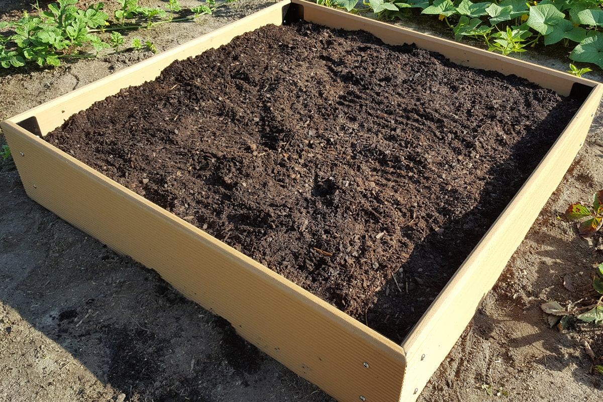 A garden using raised bed