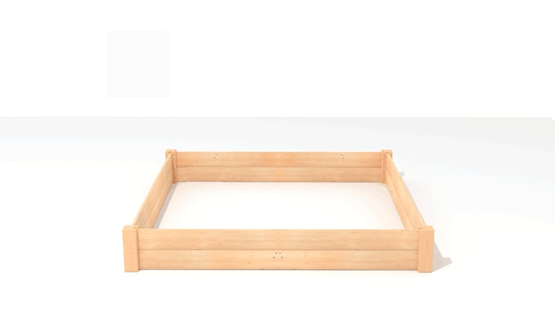 A GIF for assembling the first tier of the Three-tiered Raised Bed Planter.