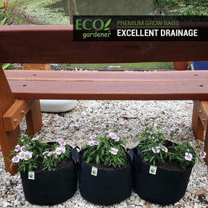Ecogardener grow bags with flowers