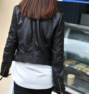 New Spring Women Leather Jacket Red Black - TuneUpTrends.com
