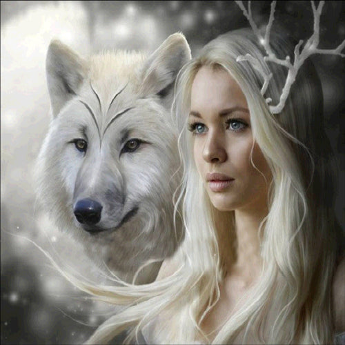 Beauty and Wolf DIY Diamond Painting - TuneUpTrends.com