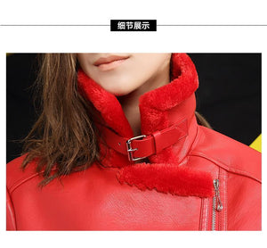 Black Red Women Faux Leather Berber Suede Shearling Coats - TuneUpTrends.com