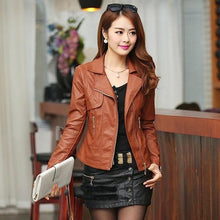 Load image into Gallery viewer, Women Pu Leather Jacket Elegant Punk Coat - TuneUpTrends.com