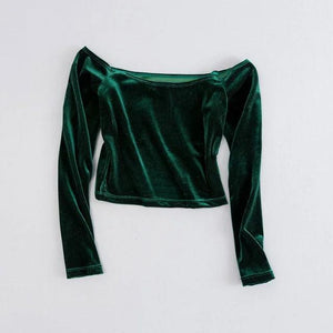 Soft Velvet Long Sleeved Crop Tops - TuneUpTrends.com
