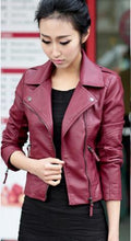 Load image into Gallery viewer, New Spring Women Leather Jacket Red Black - TuneUpTrends.com