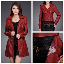 Load image into Gallery viewer, Leather Long Leather Trench Coat Female - TuneUpTrends.com