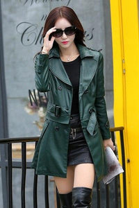 Leather Long Leather Trench Coat Female - TuneUpTrends.com