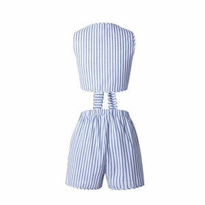 LIVA GIRL Two Piece Set Blue Striped Rompers - TuneUpTrends.com
