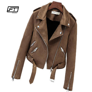 Faux Suede Womens Motorcycle Leather Jacket - TuneUpTrends.com