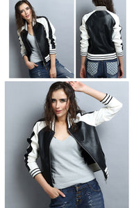 O-neck Faux Leather Jacket Women 2018 - TuneUpTrends.com